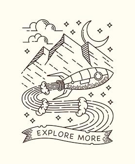 Aventurar-se com ilustração de linha de foguetes