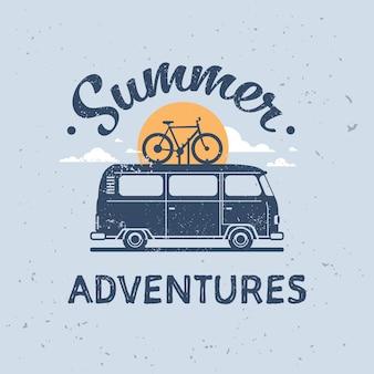 Aventuras de verão surf ônibus bicicleta retro surf vintage