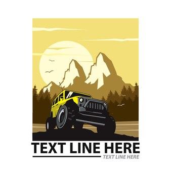 Aventureiro de montanha, ilustração de carro