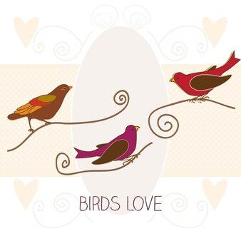 Aves amor em ilustração vetorial de cores vintage