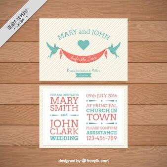 Aves com um cartão de casamento da fita