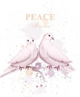 Aves de pomba em aquarela
