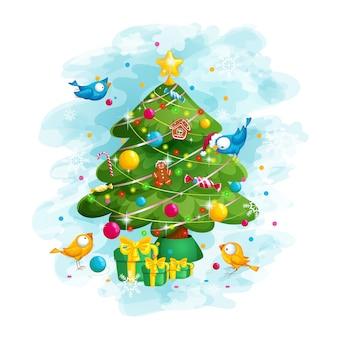 Aves decoram a árvore de natal