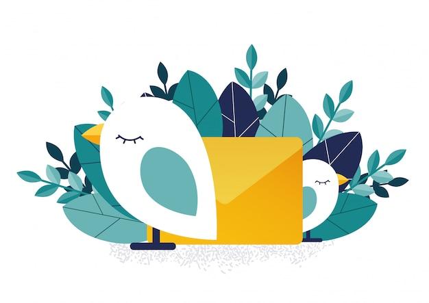 Aves e mensagem. notificação de mensagens.