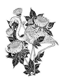 Aves e tatuagem de flor altamente detalhada em estilo de arte de linha