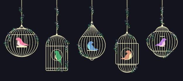 Aves em gaiolas douradas.