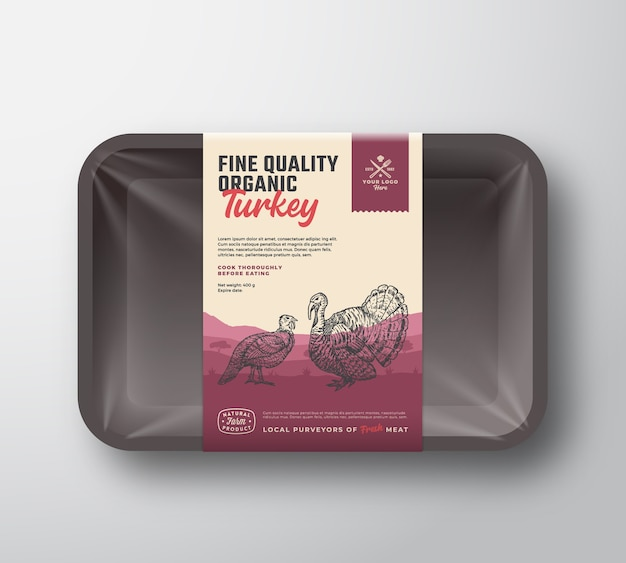 Aves orgânicas de alta qualidade. maquete de recipiente de bandeja de plástico de carne