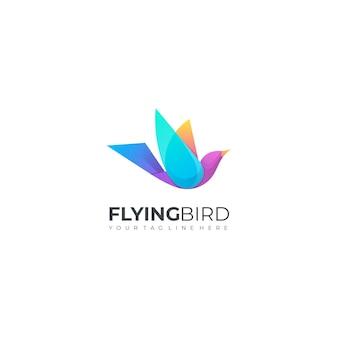 Aves voadoras gradiente moderno colorido