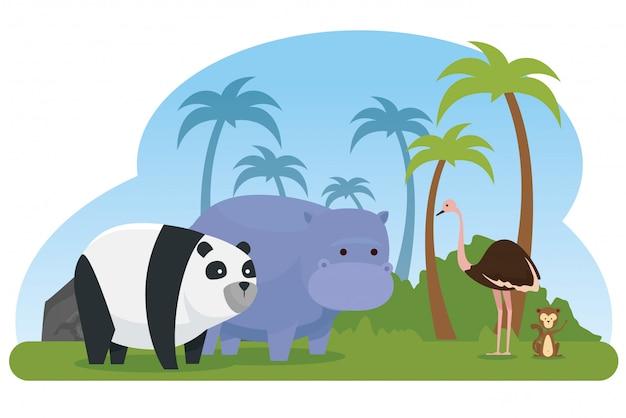 Avestruz com animais selvagens de panda e hipopótamo