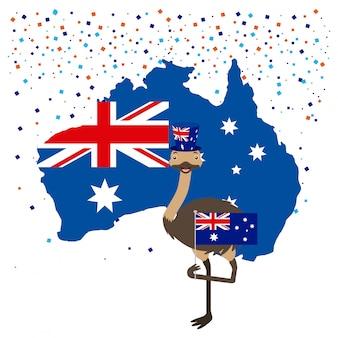 Avestruz com bandeira australiana e confetes