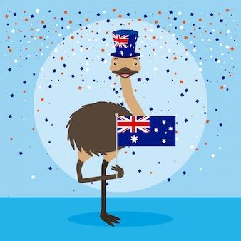 Avestruz com bandeira da austrália e confetes