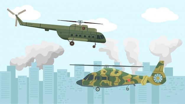 Aviação de aeronaves, ilustração de helicóptero militar. vôo do exército aéreo por acidente, fundo de força de transporte.