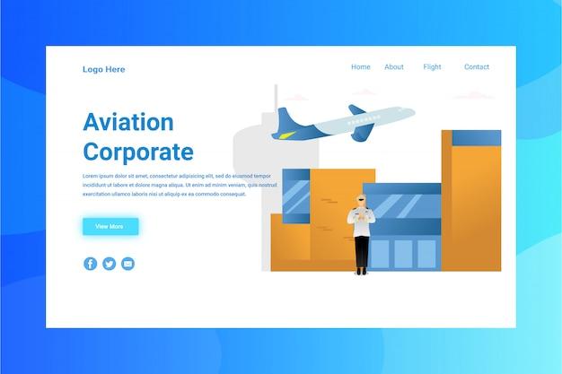 Aviação de cabeçalho de página da web página de destino de conceito de ilustração corporativa