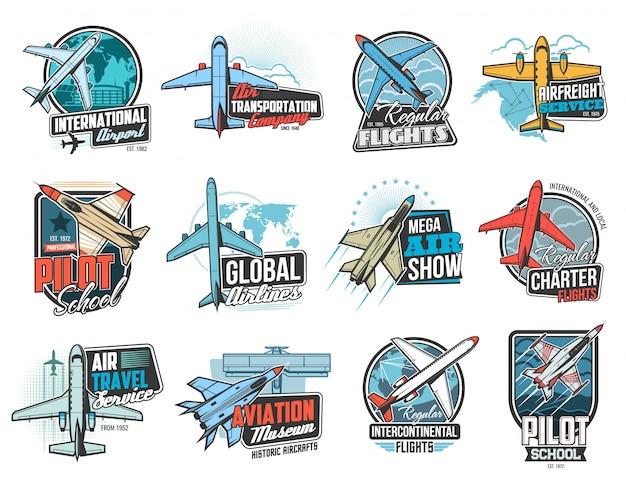Aviação, ícones de voo aéreo, escola de pilotos de avião