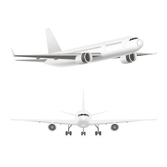 Avião a jato branco no conjunto aéreo.