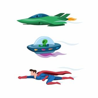 Avião a jato, ovni e super-herói voando rápido conjunto de ícones de coleção na ilustração plana dos desenhos animados, isolada no fundo branco