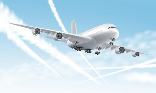 Avião a jato voando em close-up com rastos de jato ou trilhas no fundo do céu azul