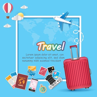 Avião aéreo e bagagem