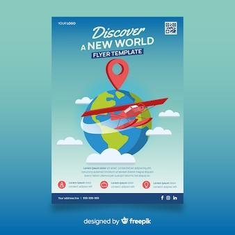 Avião ao redor do panfleto de viagens do globo