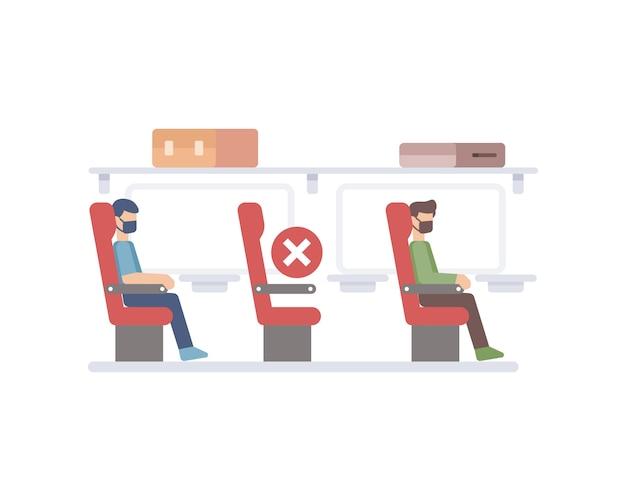 Avião aplicando protocolo de distanciamento social, esvaziando uma cadeira entre a ilustração do passageiro