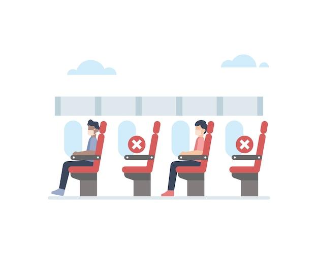 Avião aplicando protocolo de distanciamento social, esvaziando uma cadeira entre os passageiros para evitar ilustração de transmissão de vírus