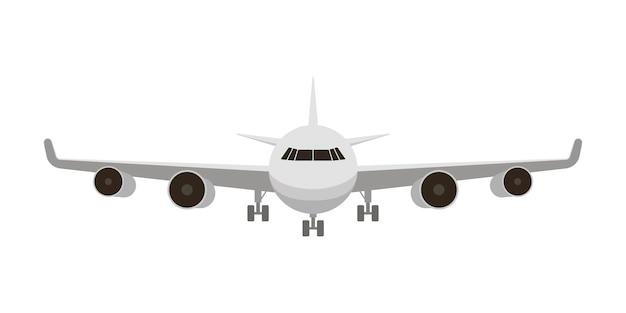 Avião branco de frente isolado no branco