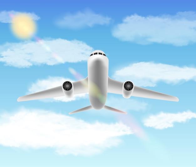 Avião branco voando com fundo de céu brilhante