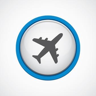 Avião brilhante com ícone de traço azul, círculo, isolado