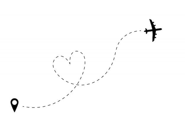 Avião com caminho de linha. rota plana com pino de localização.