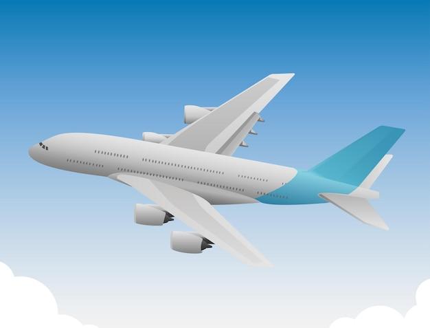 Avião com cauda azul voando em tempo ensolarado