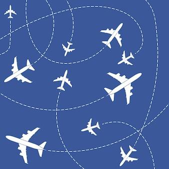 Avião com linhas tracejadas