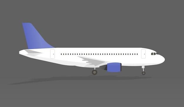 Avião com sombra na ilustração vetorial de backgroundi cinza.