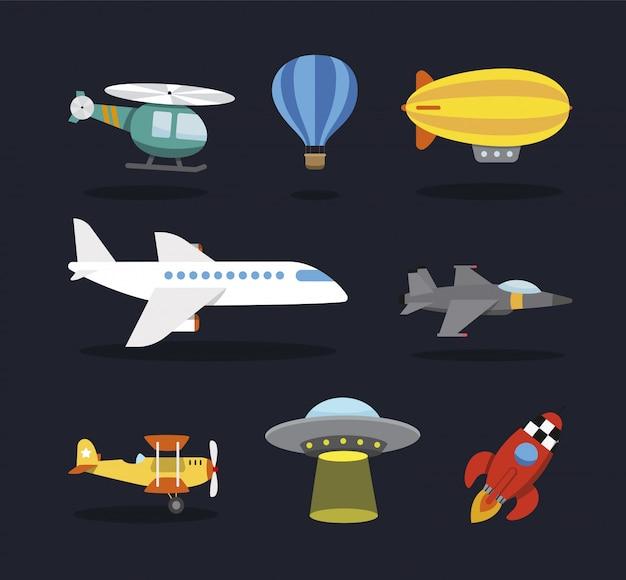 Avião comercial, avião, helicóptero, dirigível, bombardeiro de combate, ovni, foguete espacial. estilo dos desenhos animados, para crianças