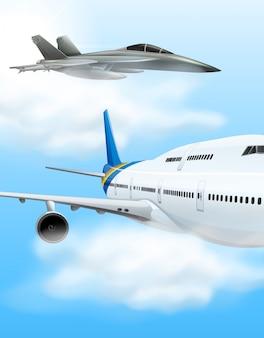 Avião comercial e avião de combate