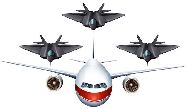Avião comercial e aviões militares