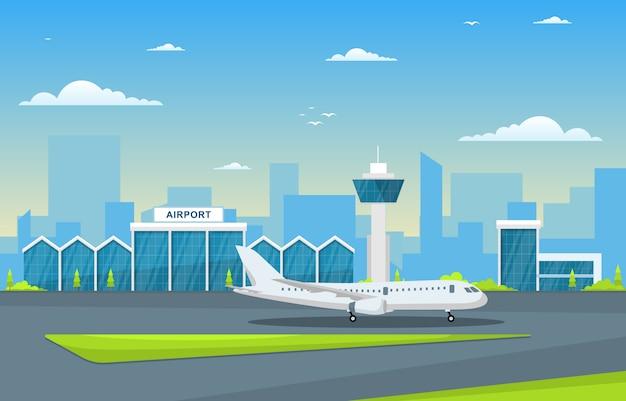 Avião de aeronaves na pista terminal aeroporto edifício paisagem skyline ilustração