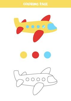 Avião de ar bonito dos desenhos animados da cor. planilha para crianças.