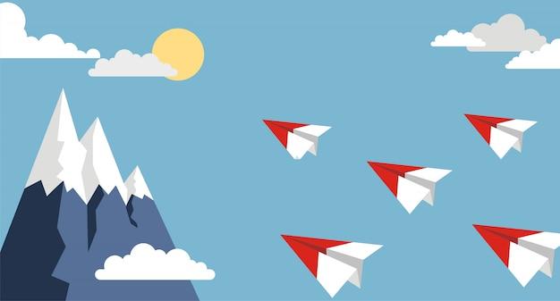 Avião de ar de papel origami no céu azul, estilo simples
