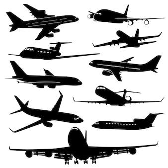 Avião de ar, silhuetas de jato de aeronaves