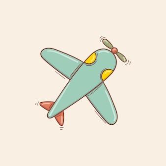 Avião de brinquedo retrô azul desenhado à mão