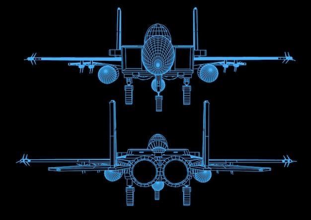 Avião de caça em vôo no estilo abstrato poligonal