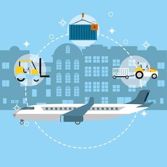 Avião de carga com símbolos de entrega