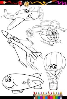 Avião de desenhos animados definido para colorir livro