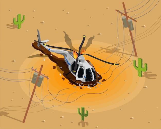 Avião de helicóptero isométrica acidente com ilustração de paisagem do deserto