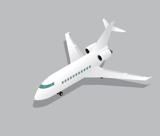 Avião de jato de negócios isométrico