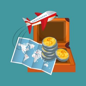 Avião de mala de moedas de mapa de viagem