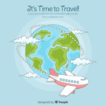 Avião de mão desenhada ao redor do fundo do globo