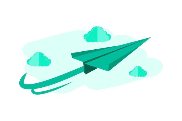 Avião de papel 3d cartunista