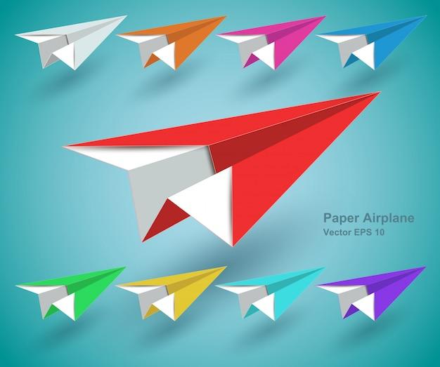 Avião de papel colorido