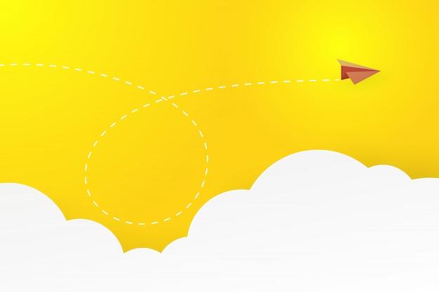 Avião de papel com sucesso comercial e conceito de liderança aterrissagem página fundo.